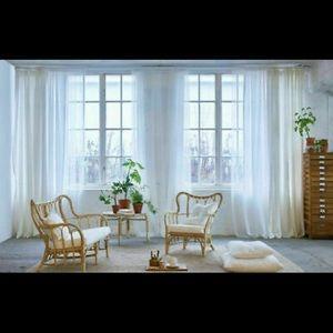 4x Pair IKEA LILL Sheer Curtains White Mesh